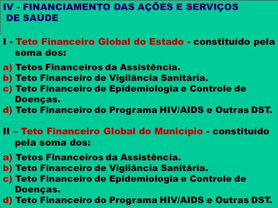 I - Teto Financeiro Global do Estado - constituído pela soma dos: a) Tetos Financeiros da Assistência. b) Teto Financeiro de Vigilância Sanitária. c)