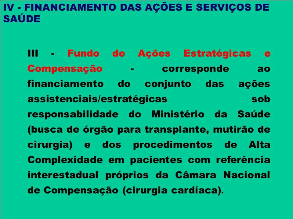 IV - FINANCIAMENTO DAS AÇÕES E SERVIÇOS DE SAÚDE III - Fundo de Ações Estratégicas e Compensação - corresponde ao financiamento do conjunto das ações
