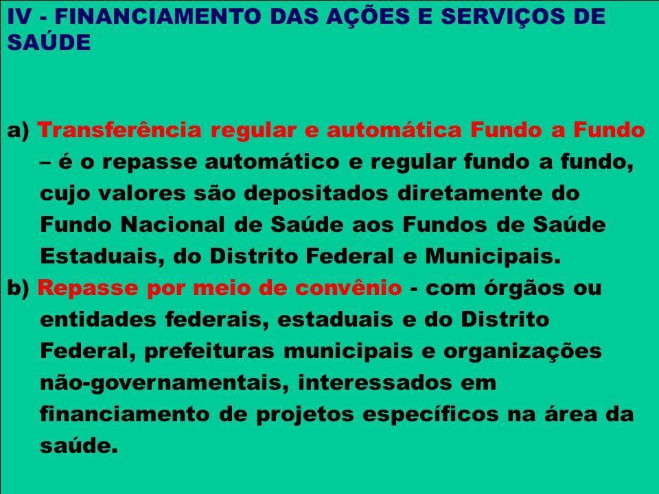 IV - FINANCIAMENTO DAS AÇÕES E SERVIÇOS DE SAÚDE a) Transferência regular e automática Fundo a Fundo – é o repasse automático e regular fundo a fundo,