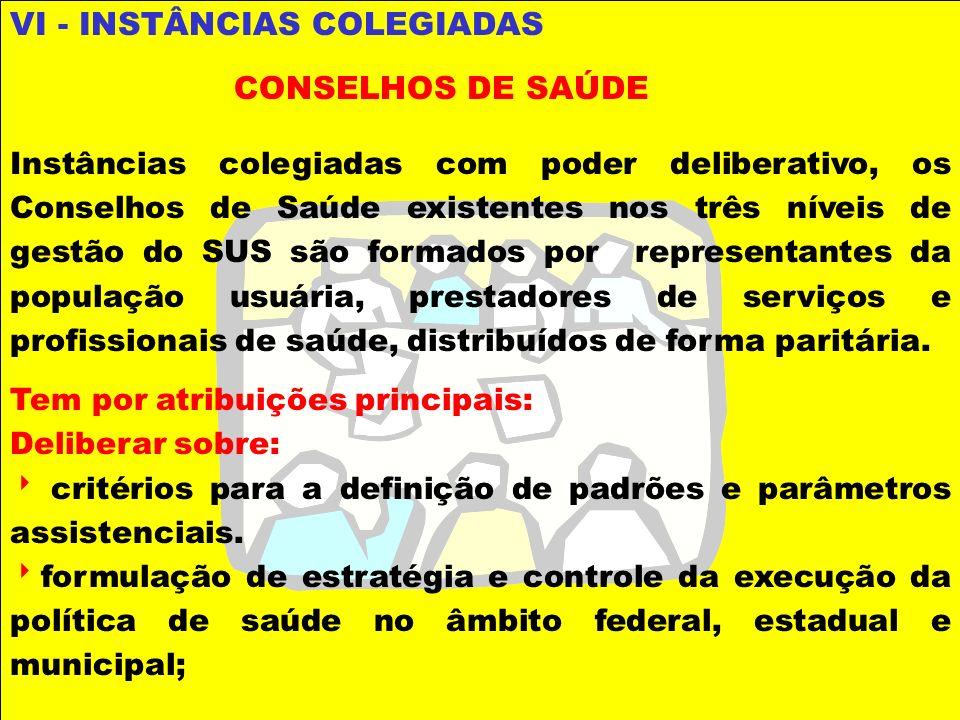 VI - INSTÂNCIAS COLEGIADAS CONSELHOS DE SAÚDE Instâncias colegiadas com poder deliberativo, os Conselhos de Saúde existentes nos três níveis de gestão