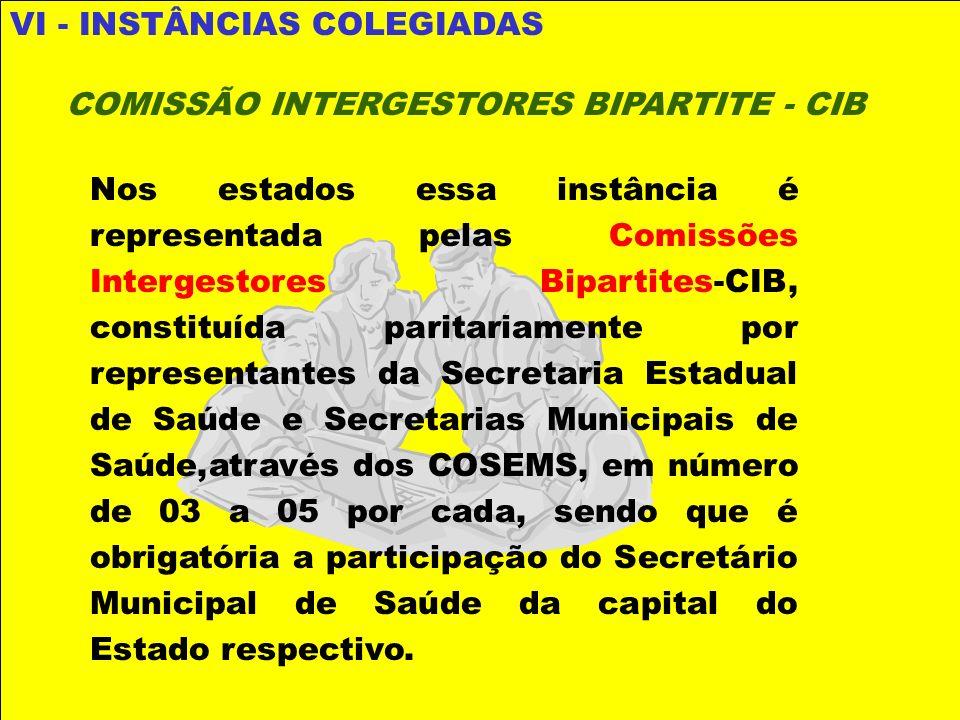 VI - INSTÂNCIAS COLEGIADAS COMISSÃO INTERGESTORES BIPARTITE - CIB Nos estados essa instância é representada pelas Comissões Intergestores Bipartites-C