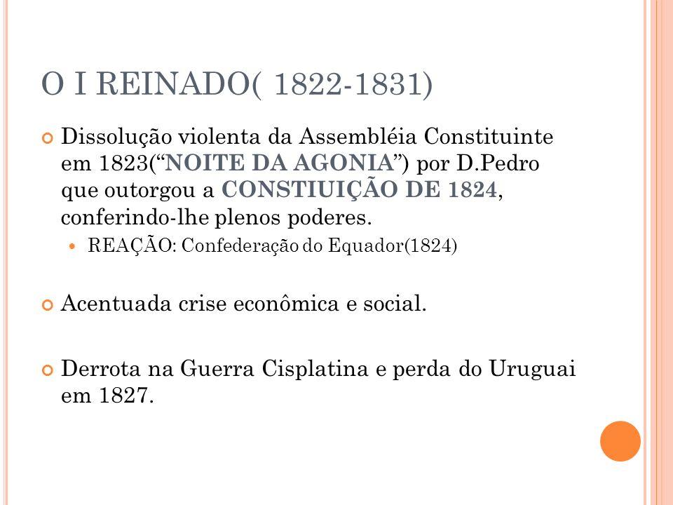 O I REINADO( 1822-1831) Dissolução violenta da Assembléia Constituinte em 1823( NOITE DA AGONIA ) por D.Pedro que outorgou a CONSTIUIÇÃO DE 1824, conf