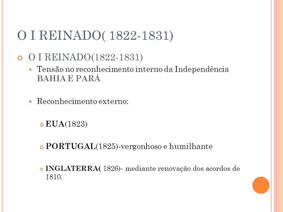 O I REINADO( 1822-1831) Tensão no reconhecimento interno da Independência BAHIA E PARÁ Reconhecimento externo: EUA (1823) PORTUGAL (1825)-vergonhoso e