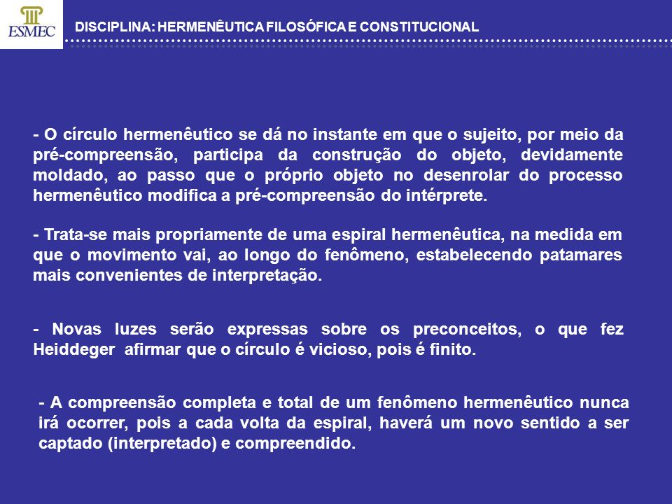 DISCIPLINA: HERMENÊUTICA FILOSÓFICA E CONSTITUCIONAL - O círculo hermenêutico se dá no instante em que o sujeito, por meio da pré-compreensão, partici