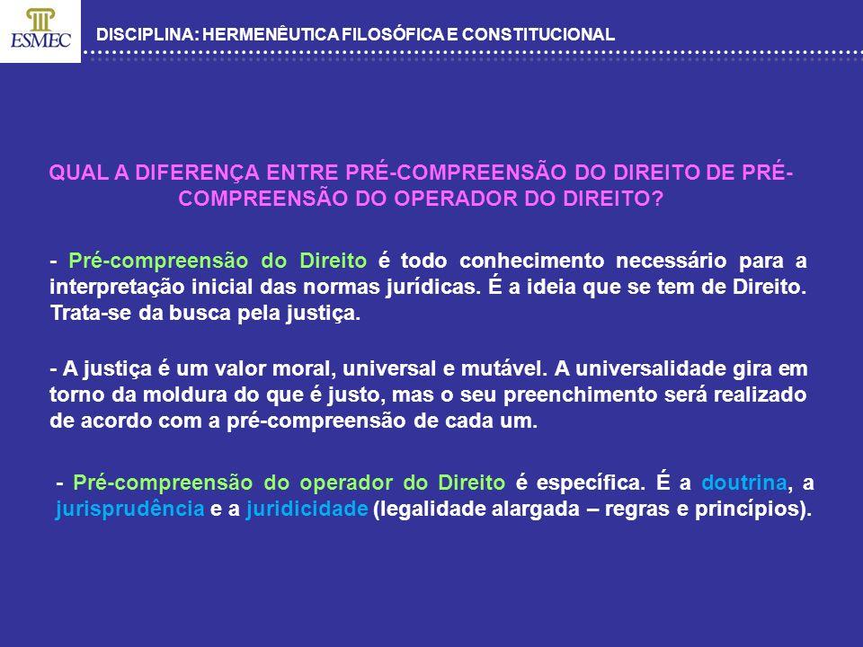 DISCIPLINA: HERMENÊUTICA FILOSÓFICA E CONSTITUCIONAL QUAL A DIFERENÇA ENTRE PRÉ-COMPREENSÃO DO DIREITO DE PRÉ- COMPREENSÃO DO OPERADOR DO DIREITO? - P
