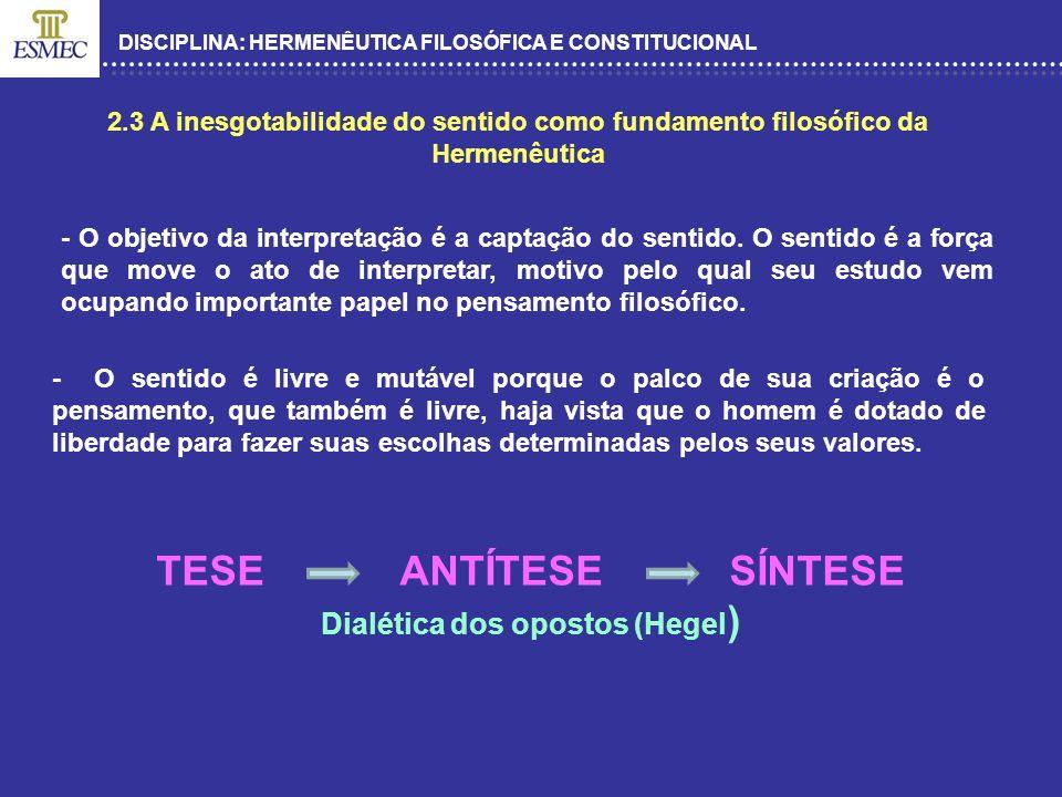 DISCIPLINA: HERMENÊUTICA FILOSÓFICA E CONSTITUCIONAL 2.3 A inesgotabilidade do sentido como fundamento filosófico da Hermenêutica - O objetivo da inte