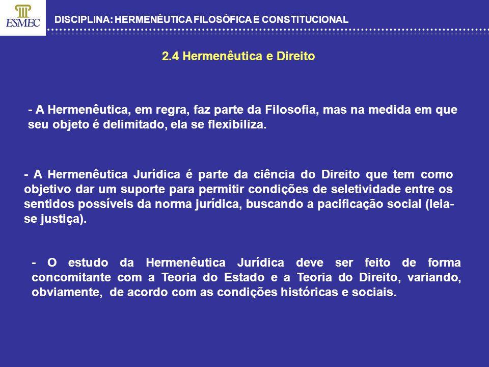 DISCIPLINA: HERMENÊUTICA FILOSÓFICA E CONSTITUCIONAL 2.4 Hermenêutica e Direito - A Hermenêutica, em regra, faz parte da Filosofia, mas na medida em q