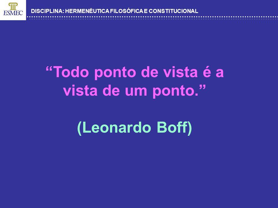 DISCIPLINA: HERMENÊUTICA FILOSÓFICA E CONSTITUCIONAL Todo ponto de vista é a vista de um ponto. (Leonardo Boff)