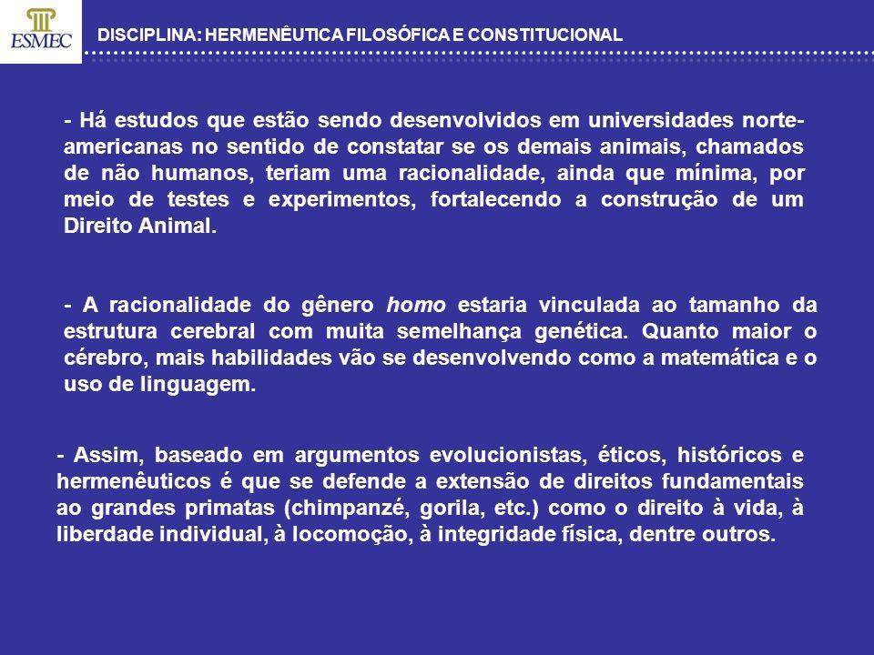 DISCIPLINA: HERMENÊUTICA FILOSÓFICA E CONSTITUCIONAL - CITAR CASO DO HC DA SUÍÇA – SALVADOR – 2005.