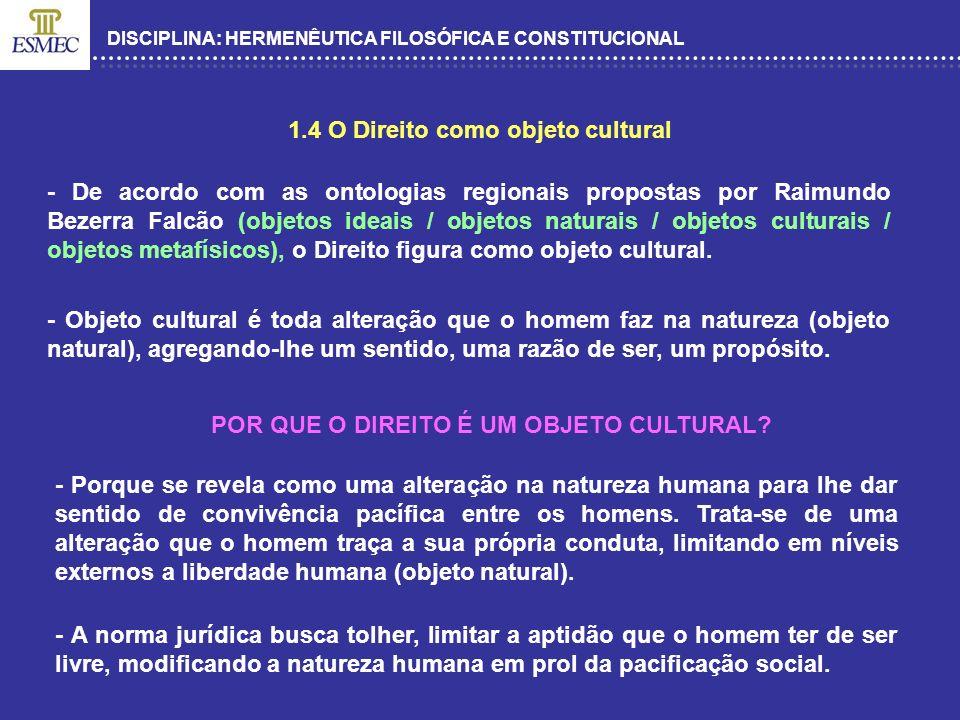 DISCIPLINA: HERMENÊUTICA FILOSÓFICA E CONSTITUCIONAL 1.4 O Direito como objeto cultural - De acordo com as ontologias regionais propostas por Raimundo
