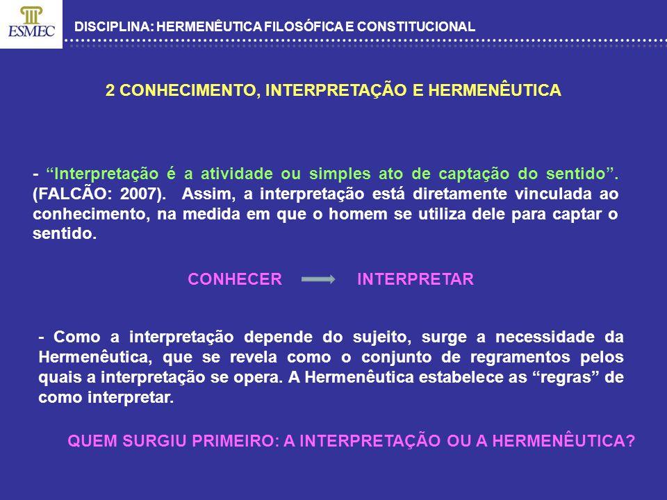 DISCIPLINA: HERMENÊUTICA FILOSÓFICA E CONSTITUCIONAL 2 CONHECIMENTO, INTERPRETAÇÃO E HERMENÊUTICA - Interpretação é a atividade ou simples ato de capt