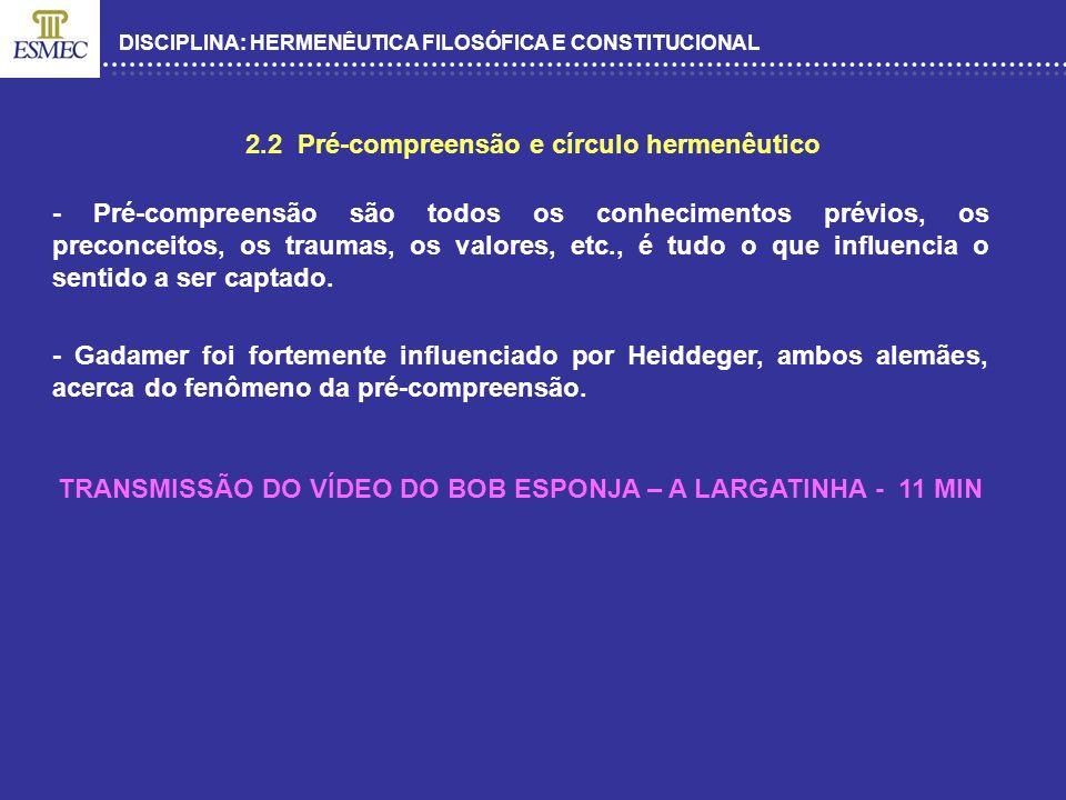 DISCIPLINA: HERMENÊUTICA FILOSÓFICA E CONSTITUCIONAL 2.2 Pré-compreensão e círculo hermenêutico - Pré-compreensão são todos os conhecimentos prévios,