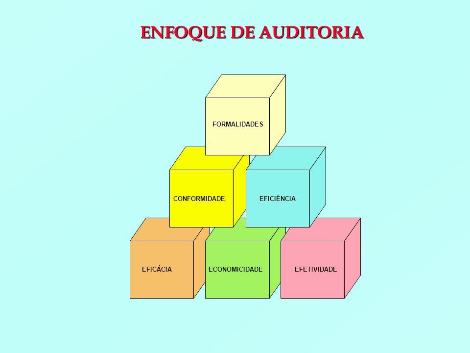 FORMALIDADES CONFORMIDADEEFICIÊNCIA EFICÁCIAECONOMICIDADEEFETIVIDADE ENFOQUE DE AUDITORIA