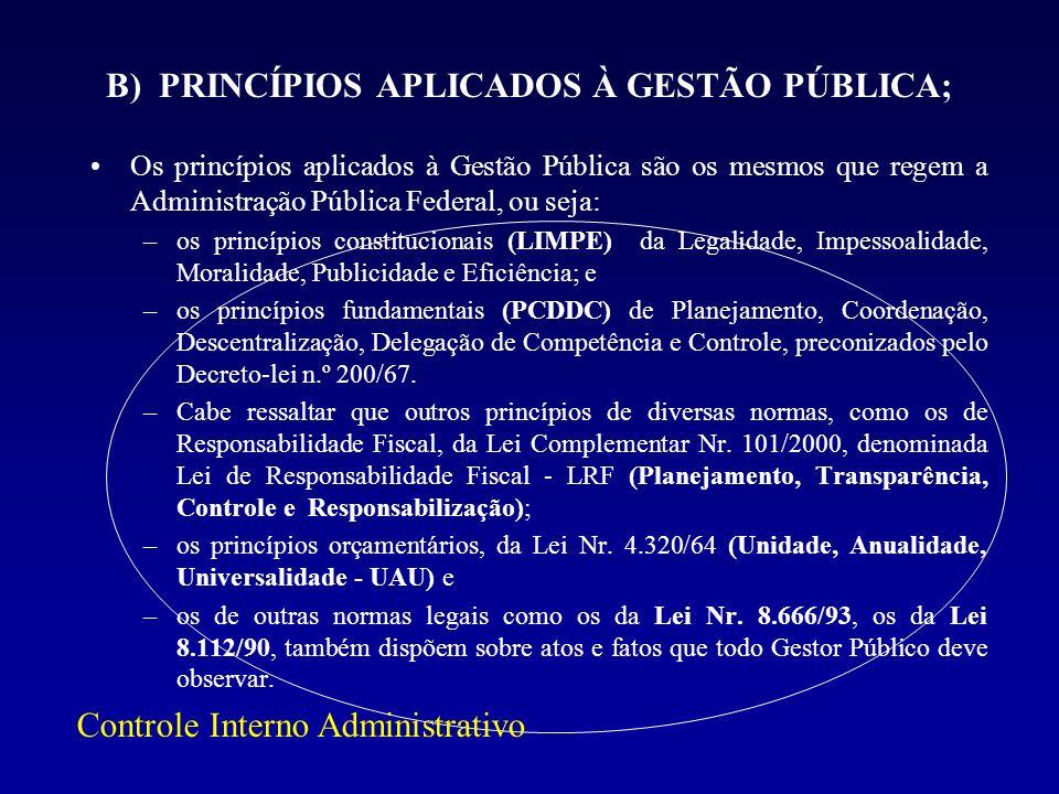 B) PRINCÍPIOS APLICADOS À GESTÃO PÚBLICA; Os princípios aplicados à Gestão Pública são os mesmos que regem a Administração Pública Federal, ou seja: –