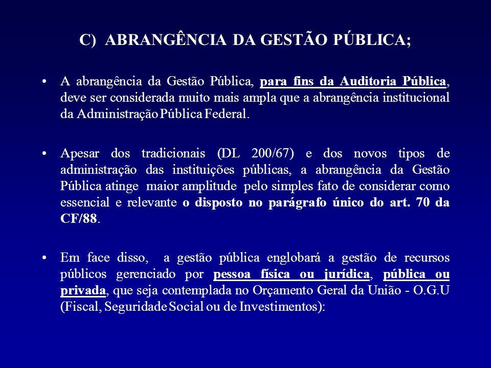 C) ABRANGÊNCIA DA GESTÃO PÚBLICA; A abrangência da Gestão Pública, para fins da Auditoria Pública, deve ser considerada muito mais ampla que a abrangê