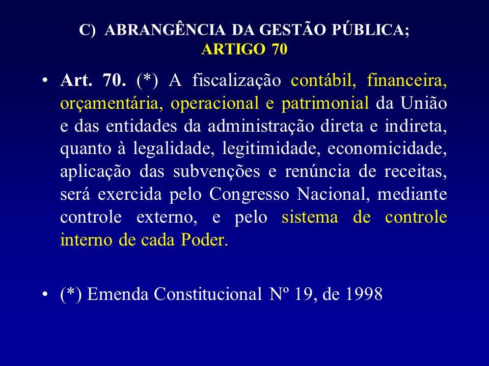 C) ABRANGÊNCIA DA GESTÃO PÚBLICA; ARTIGO 70 Art. 70. (*) A fiscalização contábil, financeira, orçamentária, operacional e patrimonial da União e das e