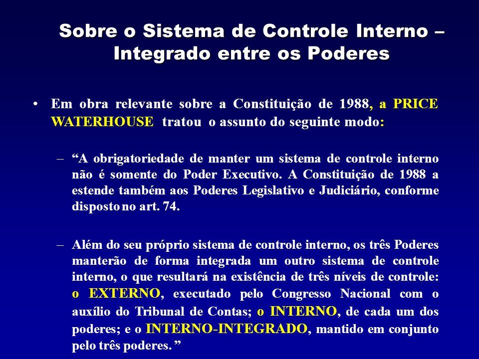 Sobre o Sistema de Controle Interno – Integrado entre os Poderes Em obra relevante sobre a Constituição de 1988, a PRICE WATERHOUSE tratou o assunto d