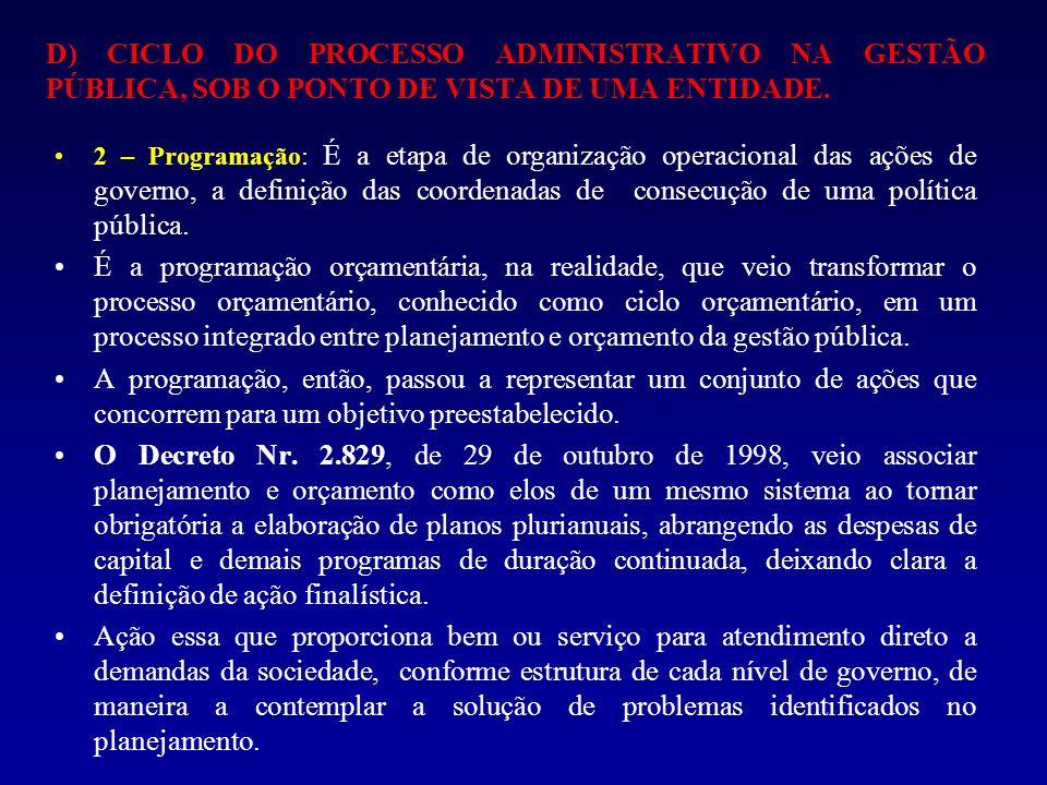 2 – Programação: É a etapa de organização operacional das ações de governo, a definição das coordenadas de consecução de uma política pública. É a pro