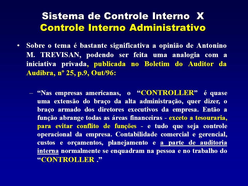 Sistema de Controle Interno X Controle Interno Administrativo Sobre o tema é bastante significativa a opinião de Antonino M. TREVISAN, podendo ser fei
