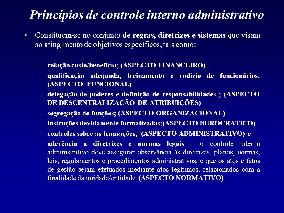 Princípios de controle interno administrativo Constituem-se no conjunto de regras, diretrizes e sistemas que visam ao atingimento de objetivos específ