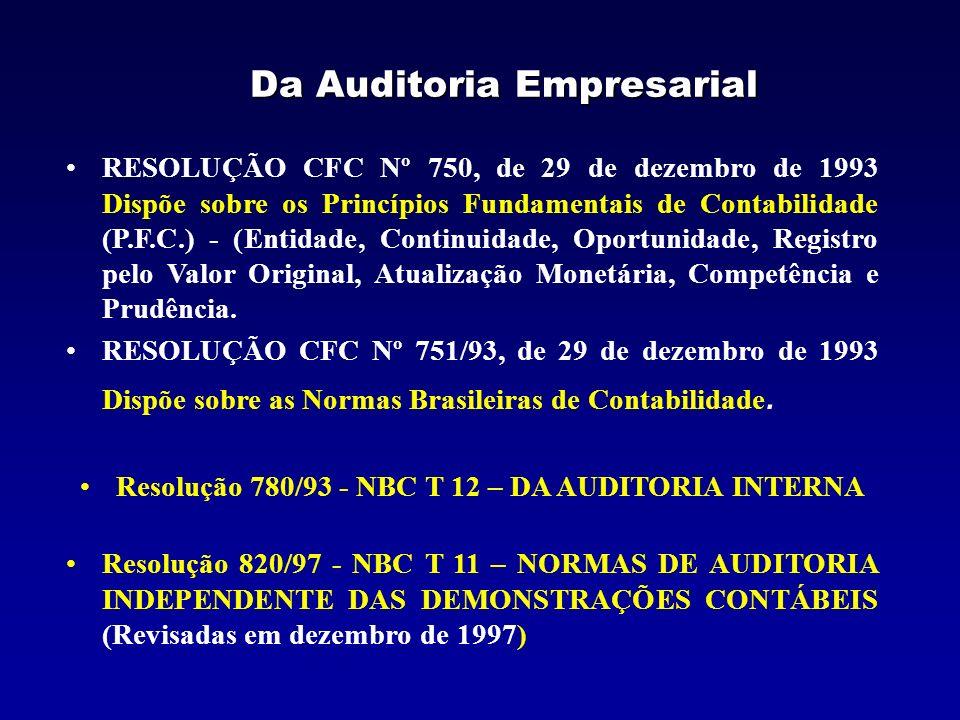 Resolução 780/93 - CFC NBC T 12 – DA AUDITORIA INTERNA 12.1 – CONCEITUAÇÃO E DISPOSIÇÕES GERAIS –12.1.1 – Conceituação e Objetivos da Auditoria Interna 12.1.1.1 – A auditoria interna constitui o conjunto de procedimentos técnicos que tem por objetivo examinar a integridade, adequação e eficácia dos controles internos e das informações físicas, contábeis, financeiras e operacionais da Entidade.
