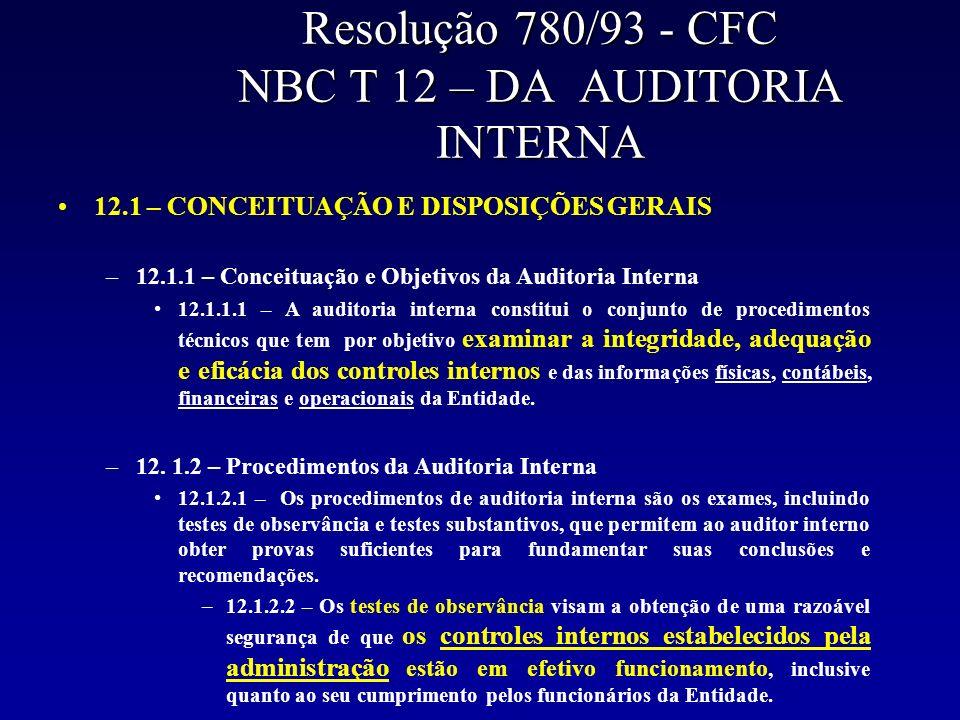 Resolução 780/93 - CFC NBC T 12 – DA AUDITORIA INTERNA 12.1 – CONCEITUAÇÃO E DISPOSIÇÕES GERAIS –12.1.1 – Conceituação e Objetivos da Auditoria Intern