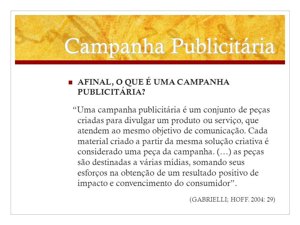 Campanha Publicitária AFINAL, O QUE É UMA CAMPANHA PUBLICITÁRIA? Uma campanha publicitária é um conjunto de peças criadas para divulgar um produto ou