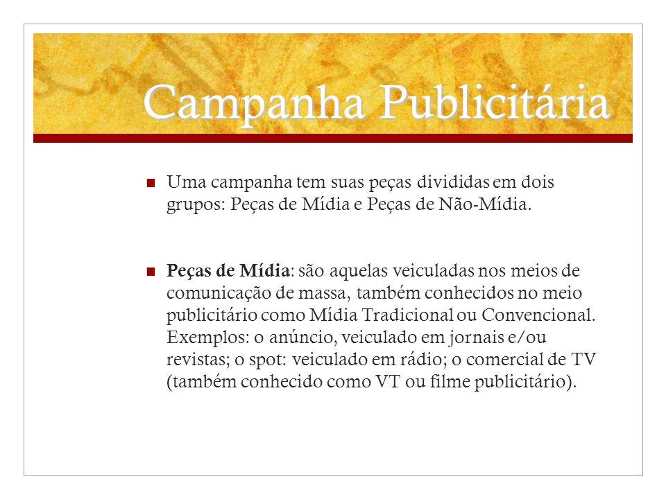 Campanha Publicitária Uma campanha tem suas peças divididas em dois grupos: Peças de Mídia e Peças de Não-Mídia. Peças de Mídia : são aquelas veiculad