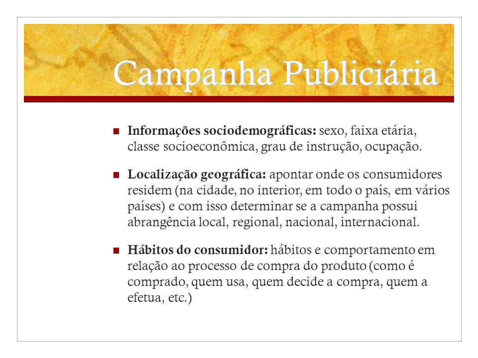 Campanha Publiciária Informações sociodemográficas: sexo, faixa etária, classe socioeconômica, grau de instrução, ocupação. Localização geográfica: ap