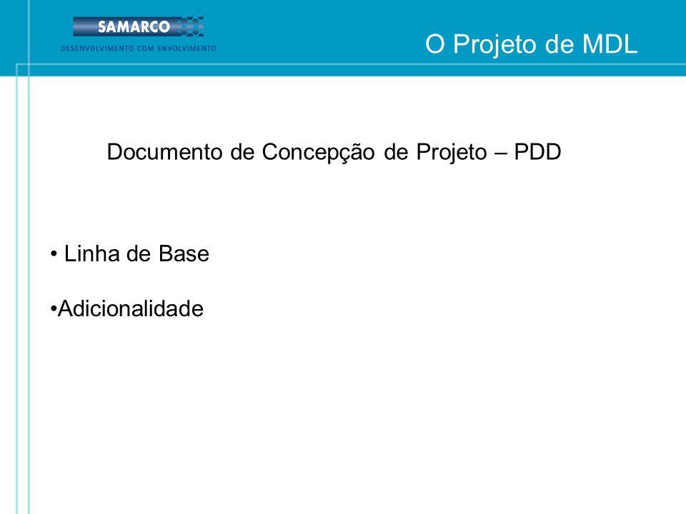 O Projeto de MDL Documento de Concepção de Projeto – PDD Linha de Base Adicionalidade
