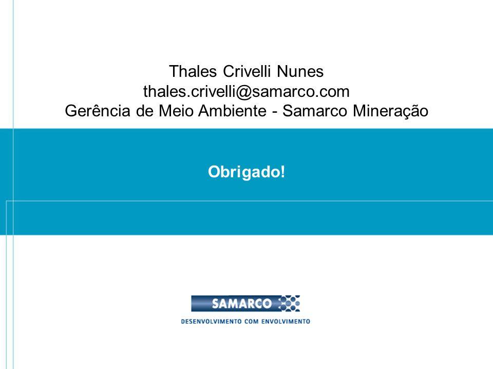 Obrigado! Thales Crivelli Nunes thales.crivelli@samarco.com Gerência de Meio Ambiente - Samarco Mineração