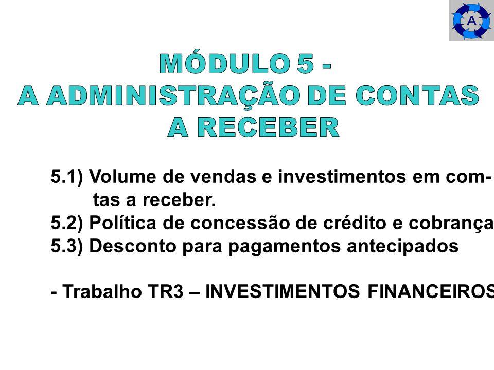 5.1) Volume de vendas e investimentos em com- tas a receber. 5.2) Política de concessão de crédito e cobrança. 5.3) Desconto para pagamentos antecipad