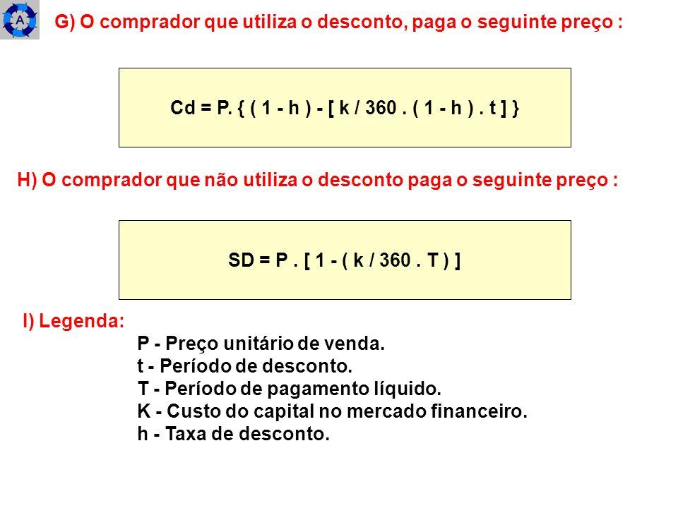 G) O comprador que utiliza o desconto, paga o seguinte preço : Cd = P. { ( 1 - h ) - [ k / 360. ( 1 - h ). t ] } H) O comprador que não utiliza o desc