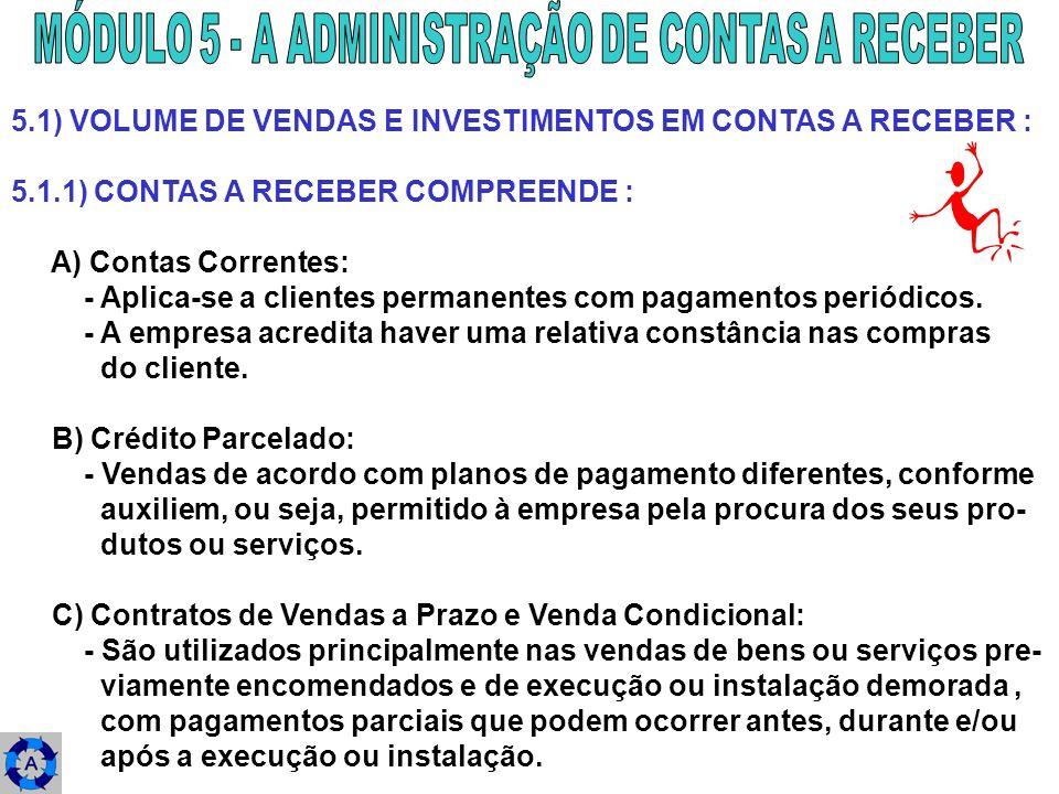 5.1) VOLUME DE VENDAS E INVESTIMENTOS EM CONTAS A RECEBER : 5.1.1) CONTAS A RECEBER COMPREENDE : A) Contas Correntes: - Aplica-se a clientes permanent
