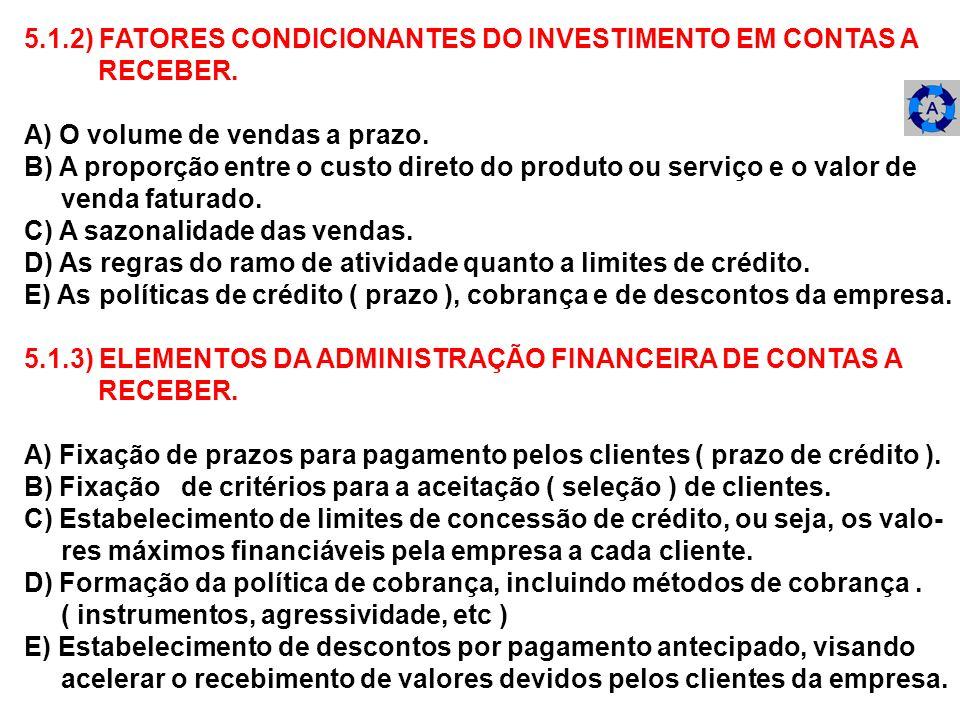 5.1.2) FATORES CONDICIONANTES DO INVESTIMENTO EM CONTAS A RECEBER. A) O volume de vendas a prazo. B) A proporção entre o custo direto do produto ou se