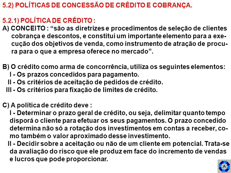5.2) POLÍTICAS DE CONCESSÃO DE CRÉDITO E COBRANÇA. 5.2.1) POLÍTICA DE CRÉDITO : A) CONCEITO : são as diretrizes e procedimentos de seleção de clientes