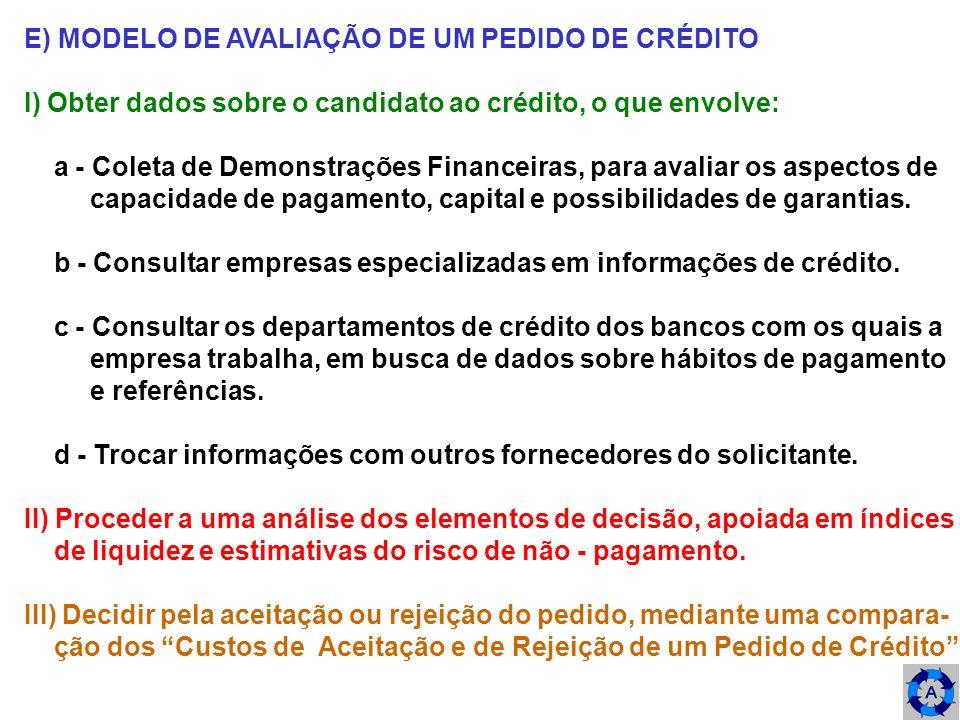 E) MODELO DE AVALIAÇÃO DE UM PEDIDO DE CRÉDITO I) Obter dados sobre o candidato ao crédito, o que envolve: a - Coleta de Demonstrações Financeiras, pa