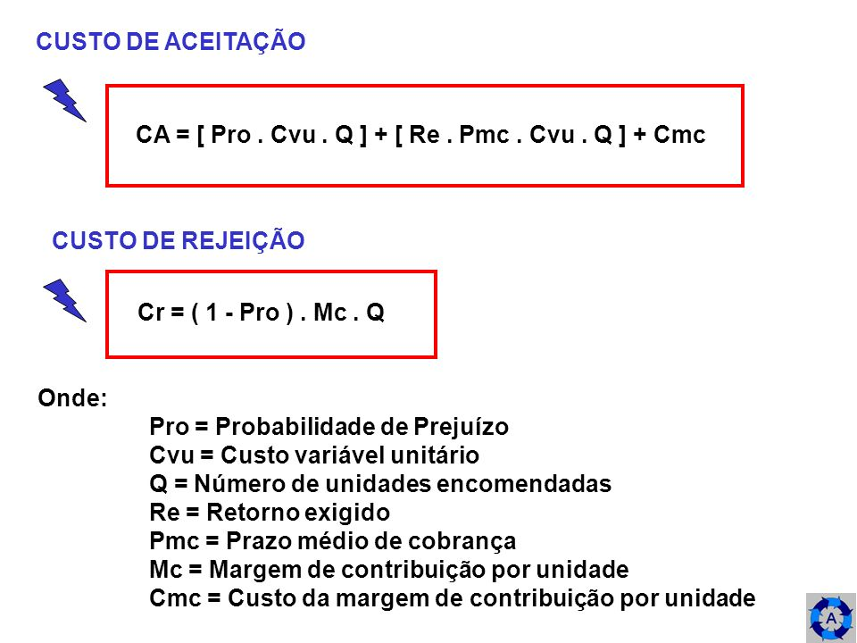 CUSTO DE ACEITAÇÃO CA = [ Pro. Cvu. Q ] + [ Re. Pmc. Cvu. Q ] + Cmc CUSTO DE REJEIÇÃO Cr = ( 1 - Pro ). Mc. Q Onde: Pro = Probabilidade de Prejuízo Cv