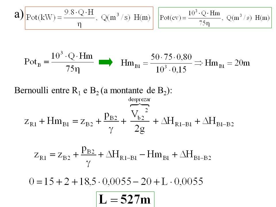 a) Bernoulli entre R 1 e B 2 (a montante de B 2 ):