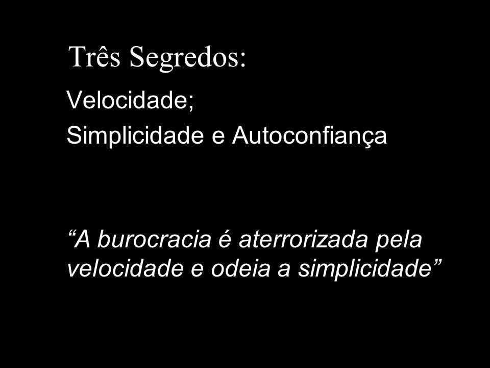 Três Segredos: Velocidade; Simplicidade e Autoconfiança A burocracia é aterrorizada pela velocidade e odeia a simplicidade