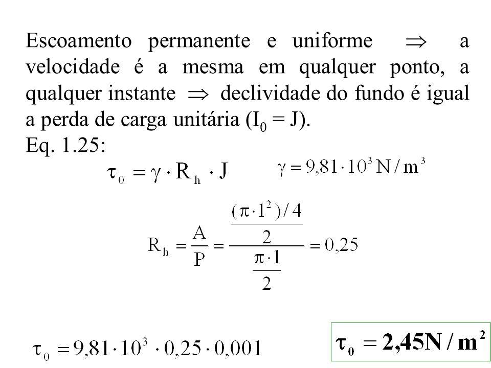 Escoamento permanente e uniforme a velocidade é a mesma em qualquer ponto, a qualquer instante declividade do fundo é igual a perda de carga unitária