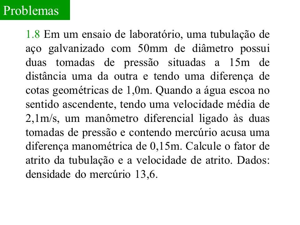 Problemas 1.8 Em um ensaio de laboratório, uma tubulação de aço galvanizado com 50mm de diâmetro possui duas tomadas de pressão situadas a 15m de dist