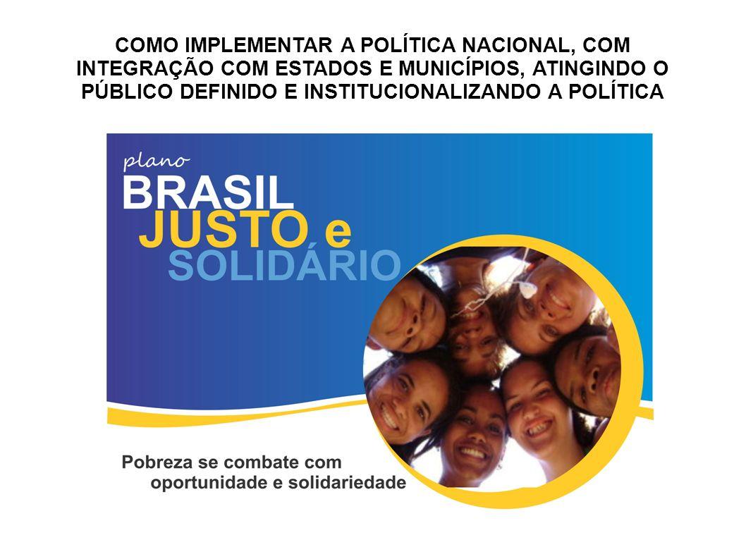 COMO IMPLEMENTAR A POLÍTICA NACIONAL, COM INTEGRAÇÃO COM ESTADOS E MUNICÍPIOS, ATINGINDO O PÚBLICO DEFINIDO E INSTITUCIONALIZANDO A POLÍTICA