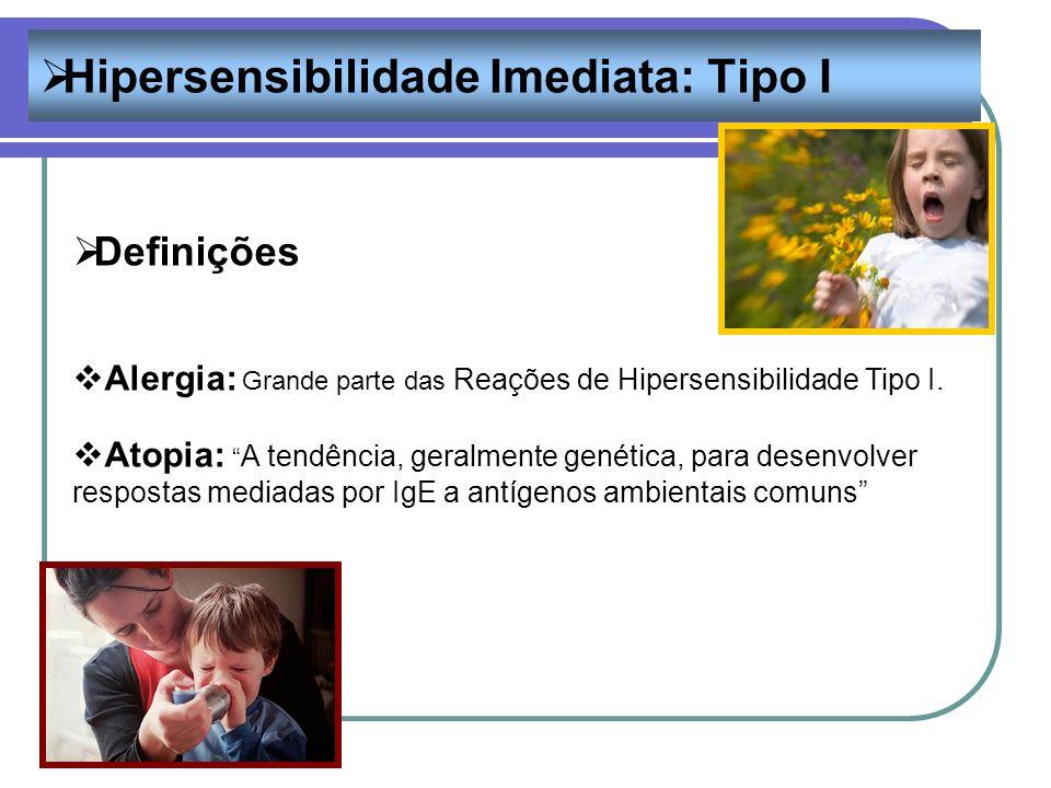 Hipersensibilidade Imediata: Tipo I Definições Alergia: Grande parte das Reações de Hipersensibilidade Tipo I. Atopia: A tendência, geralmente genétic