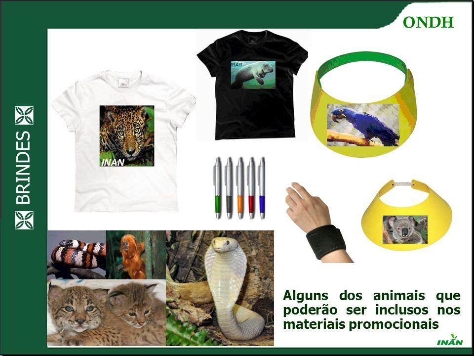 BRINDES Ocupando os espaços Alguns dos animais que poderão ser inclusos nos materiais promocionais ONDH
