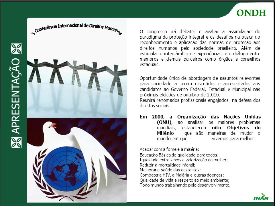 LOCAL E REALIZAÇÃO ONDH QI 23 CJ 12 Lote 16 – Lago Sul - Brasília – DF - CEP: 71.660-730 e-mail: contato@ondh.org.brcontato@ondh.org.br I Conferência Internacional de Direitos Humanos da ONDH