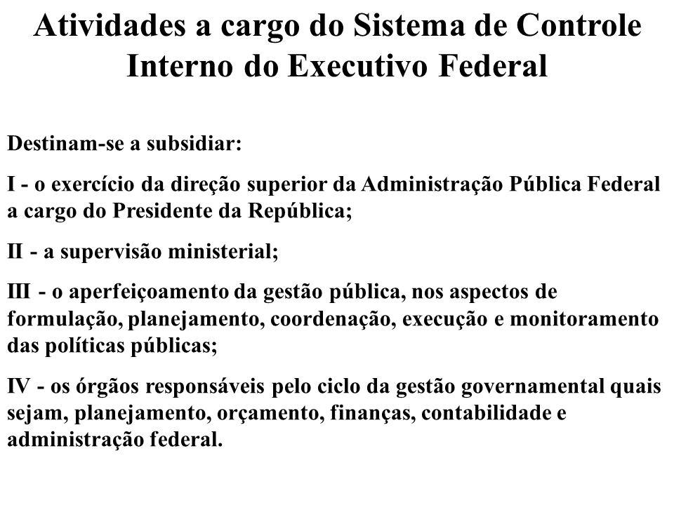Atividades a cargo do Sistema de Controle Interno do Executivo Federal Destinam-se a subsidiar: I - o exercício da direção superior da Administração P