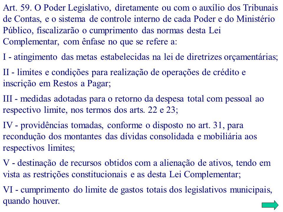Art. 59. O Poder Legislativo, diretamente ou com o auxílio dos Tribunais de Contas, e o sistema de controle interno de cada Poder e do Ministério Públ