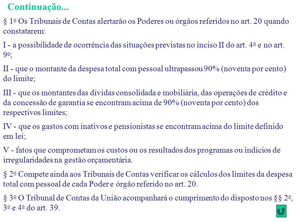 § 1 o Os Tribunais de Contas alertarão os Poderes ou órgãos referidos no art. 20 quando constatarem: I - a possibilidade de ocorrência das situações p