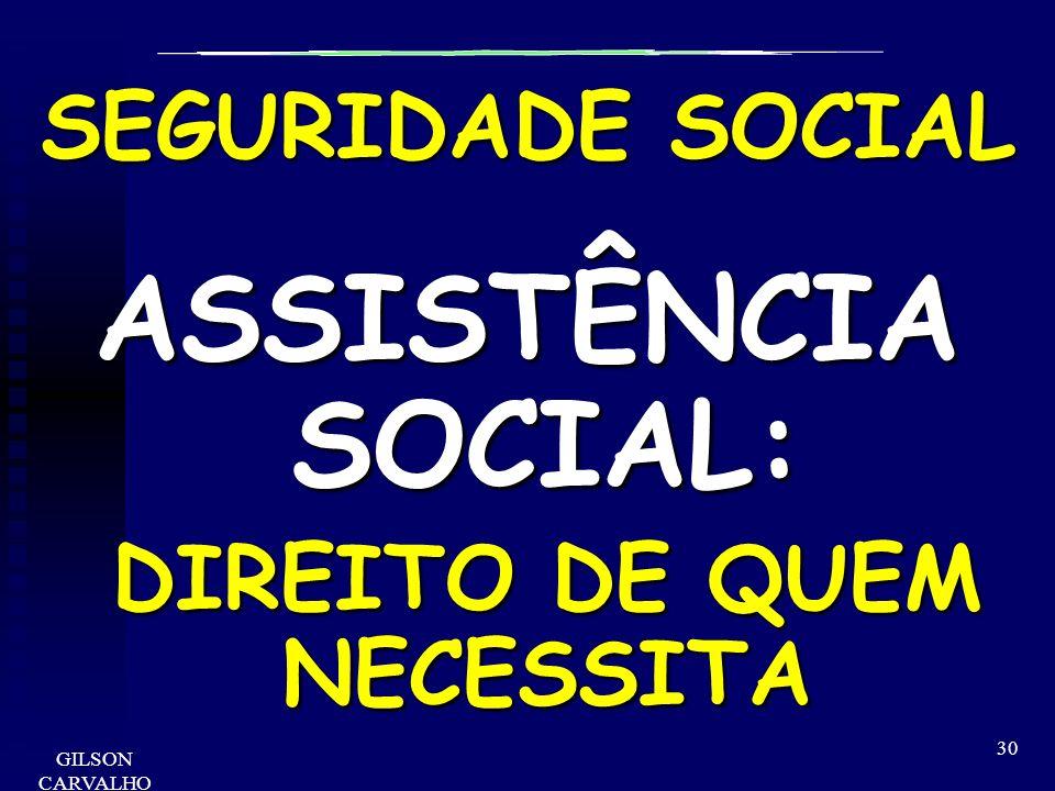 GILSON CARVALHO 30 SEGURIDADE SOCIAL ASSISTÊNCIA SOCIAL: DIREITO DE QUEM NECESSITA DIREITO DE QUEM NECESSITA